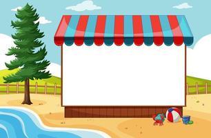 Banner en blanco con toldo en escena de playa