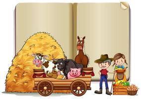Farmers and animals on book template