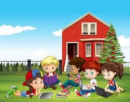 International children studying outside classroom vector