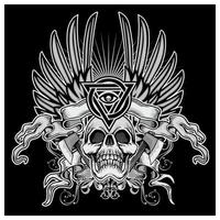 Grunge skull with angel wings and ribbon vector