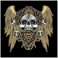 Grunge skull with gold angel wings vector