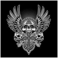 Grunge skulls with angel wings and cross vector