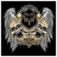 Grunge skulls with angel wings and emblem vector