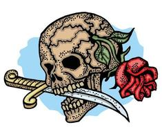 Colored tattoo skull with rose and dagger  vector