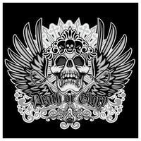 calavera de muerte o gloria con alas de angel vector