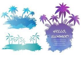 Set of colorful palm trees clip-art design vector