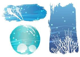 A set of underwater life banners vector