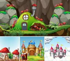 cuatro escenas diferentes del mundo de fantasía.