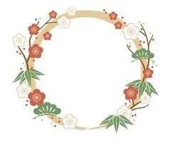 modèle de cadre de couronne florale asiatique vecteur