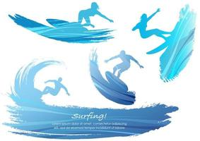 Set of people surfing silhouettes vector