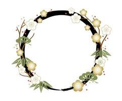 Asian floral wreath frame template vector
