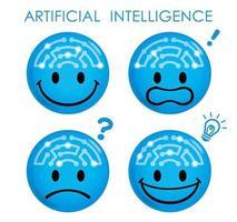 Artificial intelligence blue emoji set vector