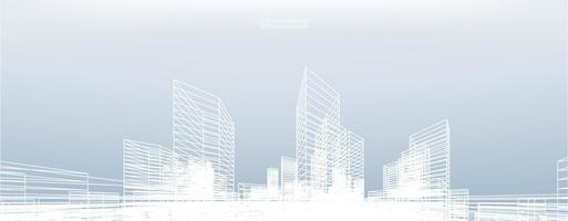 Abstract Wireframe City Background vector