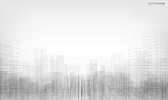 Wireframe City Background Perspective 3D Render of Building