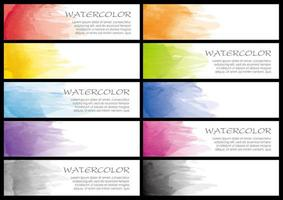 Set of watercolor colorful banners