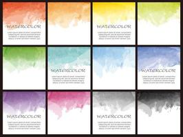 Set of square watercolor icons for background