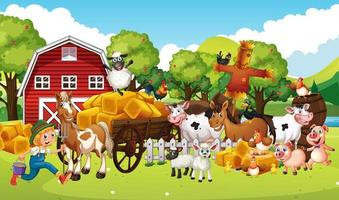 granja en una escena de la naturaleza con granja de animales. vector