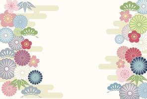 Vintage Japanese floral banner template