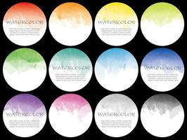 Set of round watercolor icons for background