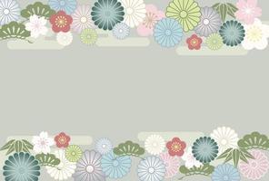 Vintage Japanese floral banner template vector