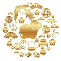 Year of the ox with asian icon set vector