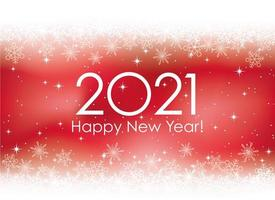 2021 New Year's card template with snowflakes background vector