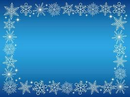 Rectangular snowflake frame on blue background vector