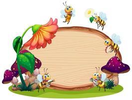 desenho de molde de borda com insetos no jardim