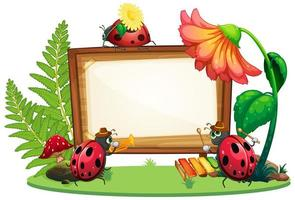 Border template design with insects in the garden
