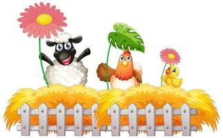 Fondo de tema de granja con tres animales de granja.