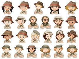 conjunto de diferentes personajes de exploradores.