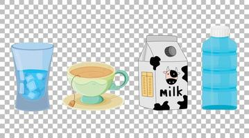Set of different types of drinks isolated  vector