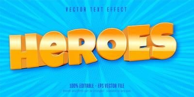 Heroes mobile game style editable text effect vector