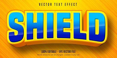Shield bold style editable text effect vector