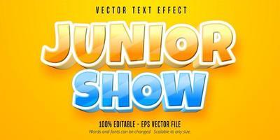 efecto de texto editable de estilo de dibujos animados junior show