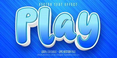 Blue play cartoon style editable text effect vector