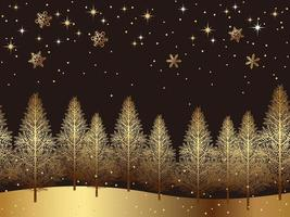 Gold forest landscape horizontally continuous background  vector