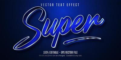 Super silver outline sparkling style editable text effect  vector