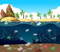 Water pollution with plastic bags in the ocean