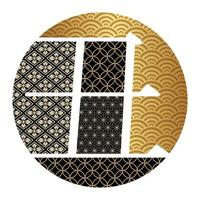 New Year's round sign with Japanese patterns