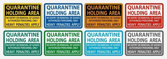 Quarantine Holding Area Signs