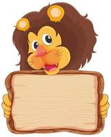 Wood board template with lion on white