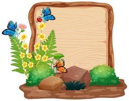 Sign template with butterflies in garden vector