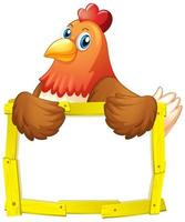 Colorful yellow wood frame with chicken on white