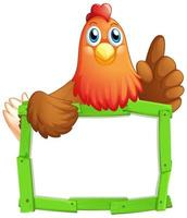 Green wood frame with chicken on white vector