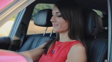 Porträt der schönen jungen Frau, die in ihrem Auto sitzt