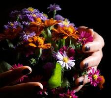 Beautiful bouquet of bright wildflowers photo