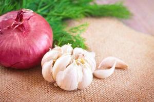cebollas rojas, eneldo y ajo en una mesa
