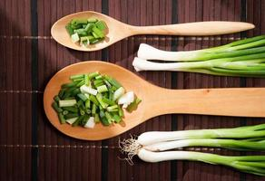 Chopped green  onions and spoon
