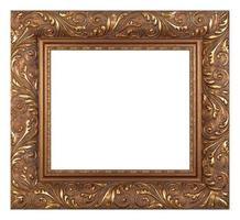 Empty golden vintage frame isolated on white background photo